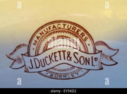 J Duckett & son Ltd Burnley Manufacturers Vitreous Ceramics China Urinal in the Sportsman Pub, Huddersfield, West - Stock Photo