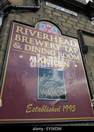 Riverhead Brewery Pub Marsden, West Yorkshire, England, Uk on the CAMRA aletrain route - Stock Photo