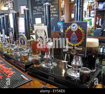 Several real ales on the bar, The Sportsman Inn, Huddersfield, West Yorkshire, England, UK - Stock Photo