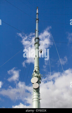 Low angle view of of Winter Hill TV transmitter mast, Bolton, Lancashire. - Stock Photo