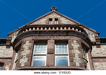 Romanesque revival architecture (Richardsonian Style) in an old building of the University of Toronto - Stock Photo
