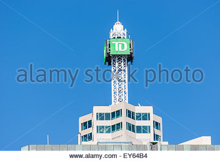 Close-up of the top of TD Canada Trust Tower building against blue sky. The Toronto-Dominion Center, or TD Center, - Stock Photo