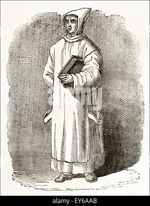 Carthusian monk of the medieval period circa 12th century. Victorian woodcut engraving circa 1845. - Stock Photo