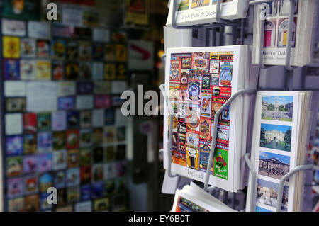 Irish Postcards for sale outside a tourist sharp in the Temple Bar area of Dublin. - Stock Photo