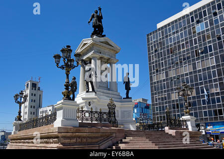 Monument to the heroes of Iquique. Sotomayor Square. Valparaiso. Chile - Stock Photo