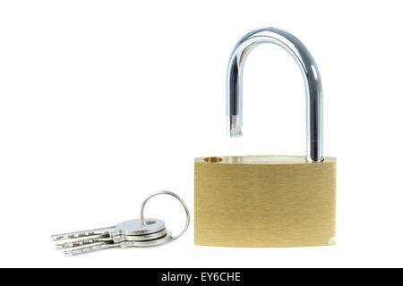 Close-up of an unlocked padlock and keys, viewed from front, isolated on white background - Stock Photo