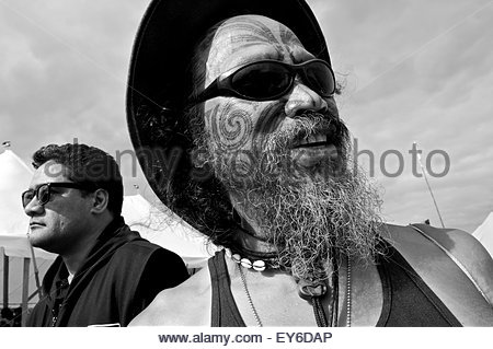 Portrait of a Maori participating in Waitangi Day annual commemorations on Waitangi Treaty Grounds, Bay of Islands, - Stock Photo