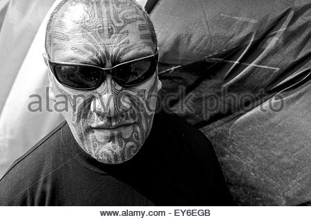 Portrait of a Maori activist participating in Waitangi Day annual commemorations on Waitangi Treaty Grounds, Bay - Stock Photo