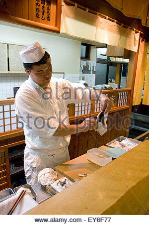 Only registered cooker can prepare the fugu fish and have to avoid cutting the bowels and the liver otherwise your - Stock Photo