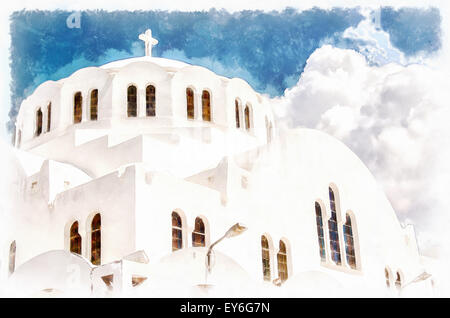 The Orthodox Metropolitan cathedral situated in the capital town of fira on the greek island of santorini. - Stock Photo