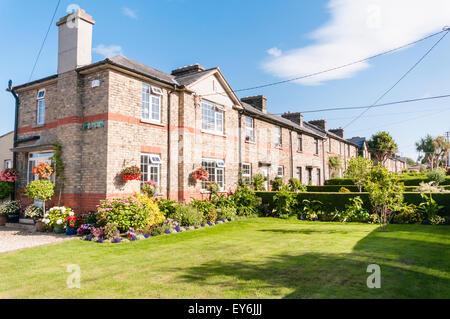 Row of pretty houses in Glasthule, Dublin, Ireland - Stock Photo