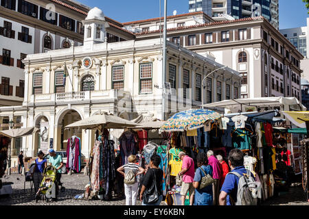 Cape Town South Africa African City Centre center Green Market Square historic vendors stalls sale crafts souvenirs - Stock Photo