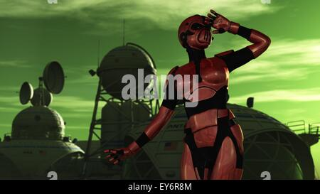 Female in red body armor and breathing apparatus gazes out from science fiction base on alien planet - Stock Photo