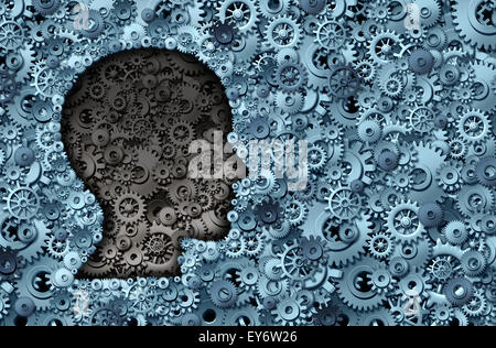 Intelligence machine and human brain as a thinking technology machine or neurology medical symbol with a head shape - Stock Photo