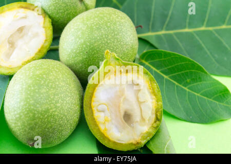 Young and raw green nuts in growth on a green background - Stock Photo