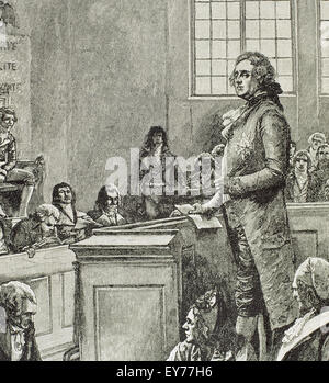 French Revolution (1789-1799). Time of the convention. Judgment of Louis XVI of France. Engraving. History of France, - Stock Photo
