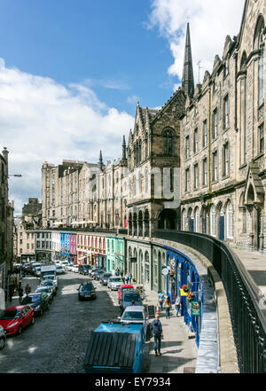 Victoria Street with Victoria Terrace above right leading down to Grassmarket in central Edinburgh Scotland - Stock Photo