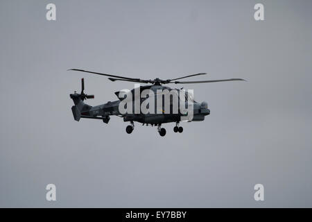 Royal Navy Wildcat Helicopter flying at Bournemouth Air Festival 2014 - Stock Photo