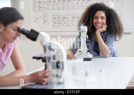 Teenage girls (14-15, 16-17) using microscope in science class - Stock Photo