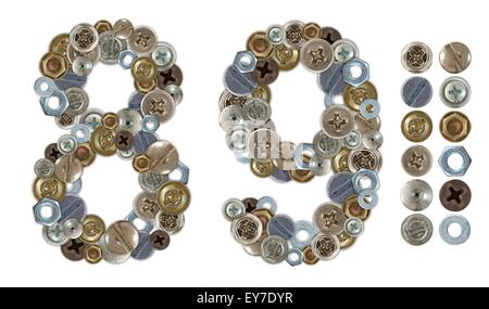 Numbers 8 and 9 made of screw and bolt heads. Standalone design elements attached - Stock Photo