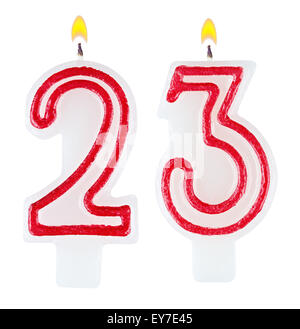 birthday cake with candles number 23 isolated on white ...