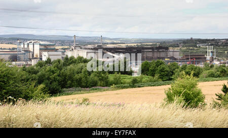 Tata steel plant in Rotherham with views across surrounding fields, South Yorkshire, England, UK - July 2015 - Stock Photo