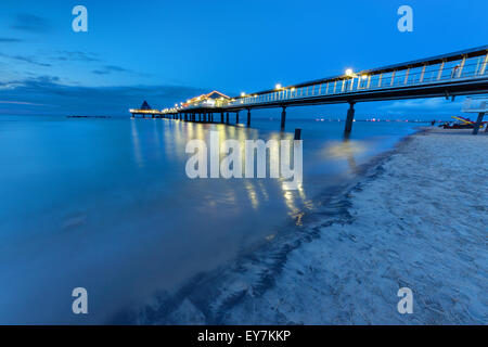 The pier of Heringsdorf on Usedom island at dawn - Stock Photo