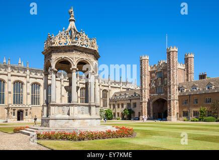 The Great Court Trinity College Cambridge University Cambridge Cambridgeshire England UK GB EU Europe - Stock Photo