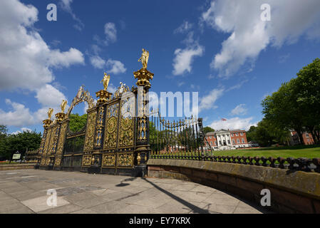 The Golden Gates outside Warrington Town Hall Cheshire UK - Stock Photo