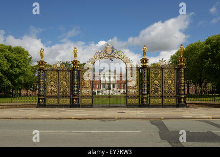 The Golden Gates outside Warrington Town Hall Cheshire UK - Stock Photo