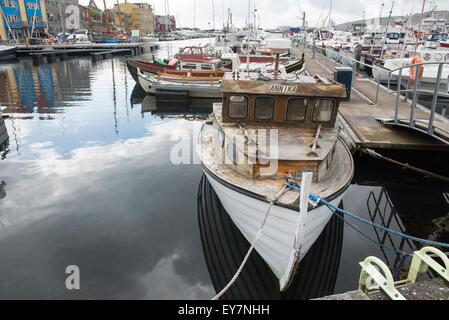 Small boat with the name Annika in the port of Torshavn on the Faroe Islands - Stock Photo