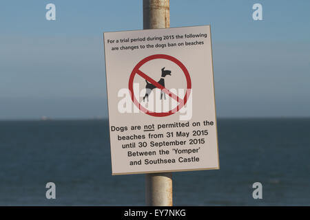 No dogs on beach sign. Portsmouth. UK - Stock Photo
