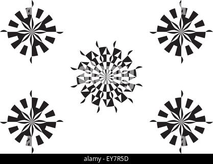Traditional circular geometric design with modern looking alternating pure black and white color style. - Stock Photo