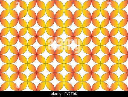 Seamless geometric repeat pattern of flower tessellation in orange, yellow gradient fill color. - Stock Photo