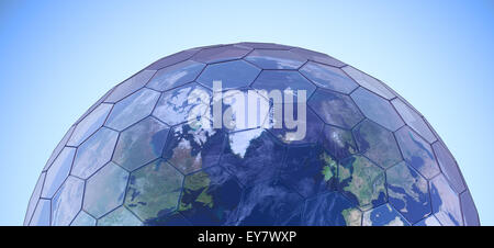 Earth globe covered with hexagonal glass panels - green house effect conceptual illustration - Stock Photo