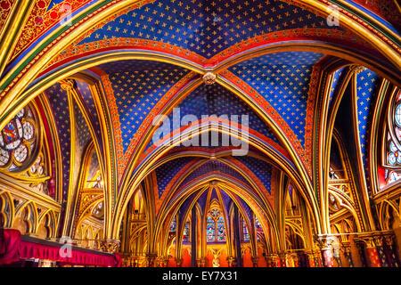 Louis 9th Memorial Stained Glass Lower Chapel Saint Chapelle Paris France.  Saint King Louis 9th created Sainte - Stock Photo