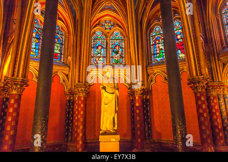 Louis 9th Memorial Stained Glass Lower Chapel Saint Chapelle Paris France - Stock Photo