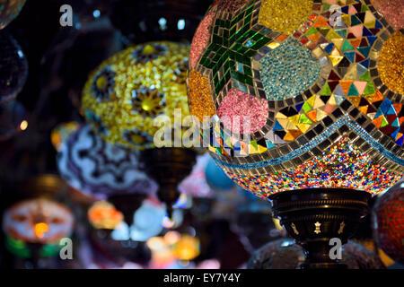 Close up of glass beads of moorish lamps in a shop in Alcaiceria Granada Spain - Stock Photo