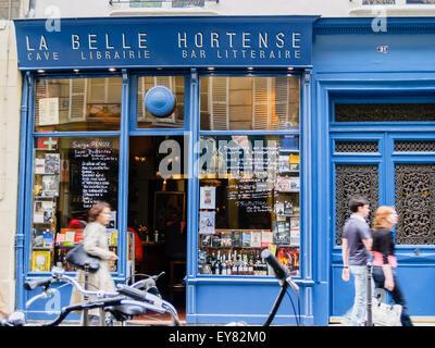 La Belle Hortense famous wine bar and bookshop in Marais District Paris France. - Stock Photo
