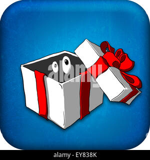An Icon with a present box and eyes looking from within. - Stock Photo