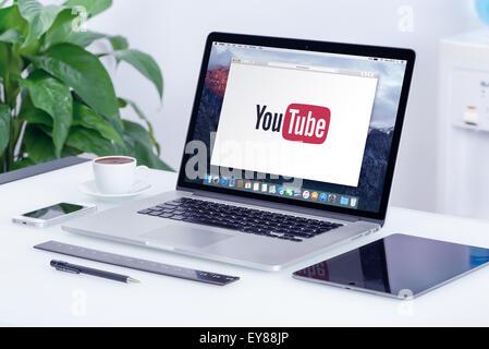 Varna, Bulgaria - May 29, 2015: YouTube logo on the Apple MacBook Pro Retina display. YouTube presentation concept. - Stock Photo