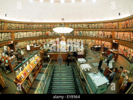 Stockholm Public Library (Stadsbibliotek) in Stockholm, Sweden, designed by Swedish architect Gunnar Asplund - Stock Photo