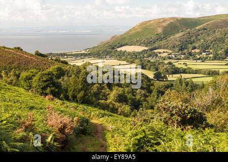 Bossington Hill and Porlock Bay viewed from Ley Hill - Stock Photo