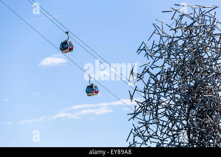 Emirates Air Line, Cable Car, London, England, United Kingdom - Stock Photo