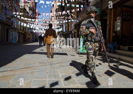 Nepalese army patrol the street during a general strike or Banda - Stock Photo