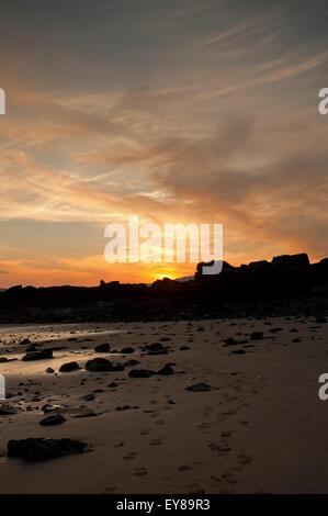 Sunset over Fleet Bay from Carrick - Stock Photo