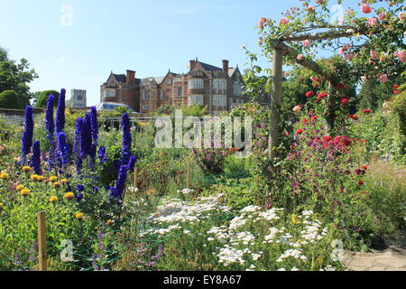 The Elizabethan manor house of Burton Agnes Hall viewed from the walled garden, Burton Agnes, East Riding of Yorkshire, England