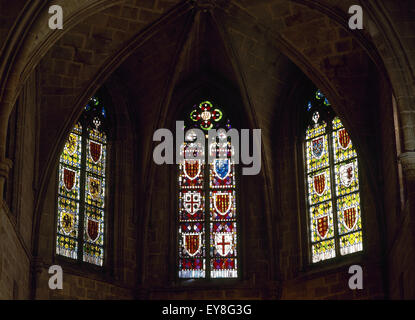 Spain. Barcelona. Chapel of Santa Agata. 14th century. Stained glass. Gothic Quarter. - Stock Photo