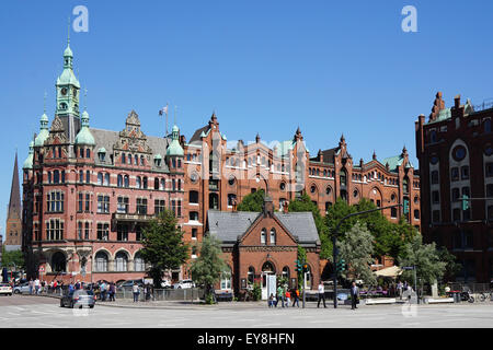 historic red brick warehouse buildings beside canal in speicherstadt stock photo royalty free. Black Bedroom Furniture Sets. Home Design Ideas
