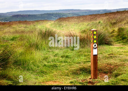 Footpath Junction Marker on the St Oswalds Way at Lordenshaws on Garleigh Moor near Rothbury Northumberland England - Stock Photo